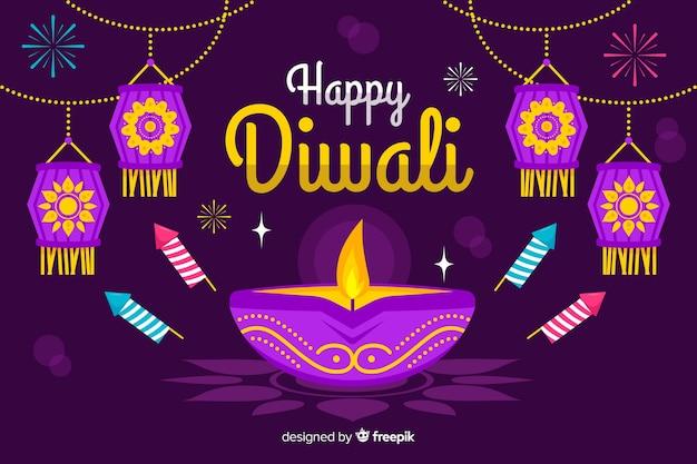 Design piatto diwali sfondo con candela Vettore gratuito