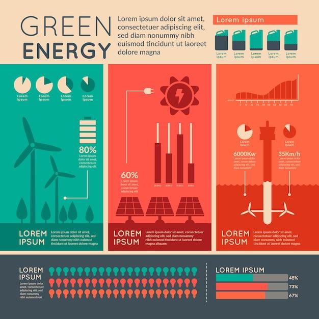 Design piatto ecologia infografica con colori retrò Vettore gratuito
