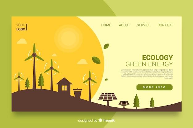 Design piatto ecologia landing page Vettore gratuito