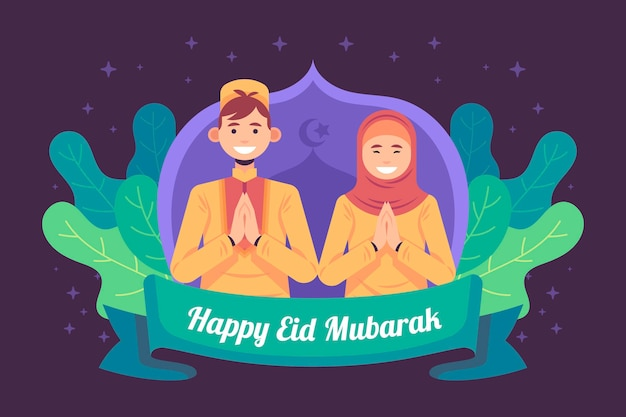 Design piatto eid mubarak con donna e uomo che prega Vettore gratuito