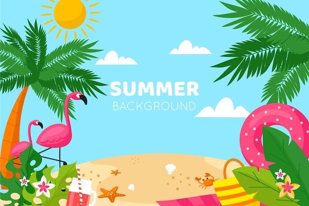 Design piatto estate sfondo con spiaggia Vettore gratuito