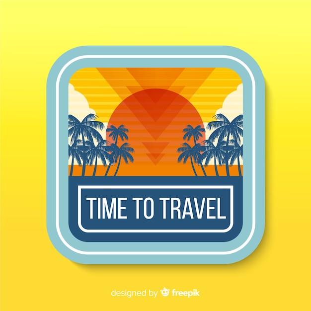Design piatto etichetta vintage viaggio Vettore gratuito