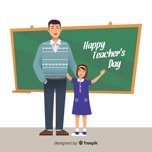 Design piatto felice giornata degli insegnanti a bordo Vettore gratuito