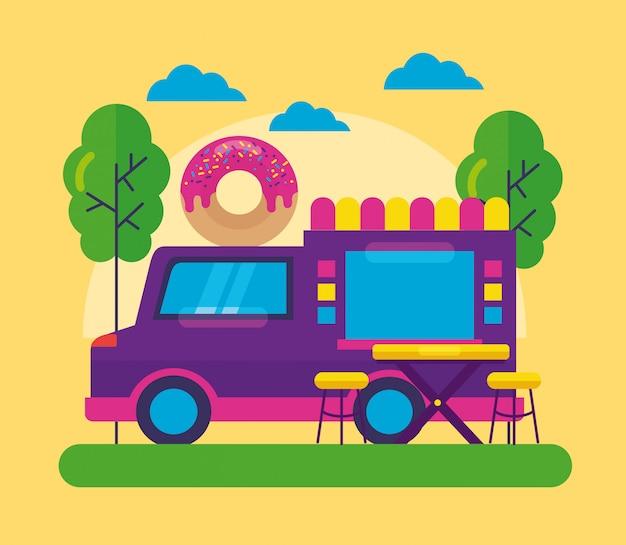 Design piatto festival di camion di cibo Vettore gratuito