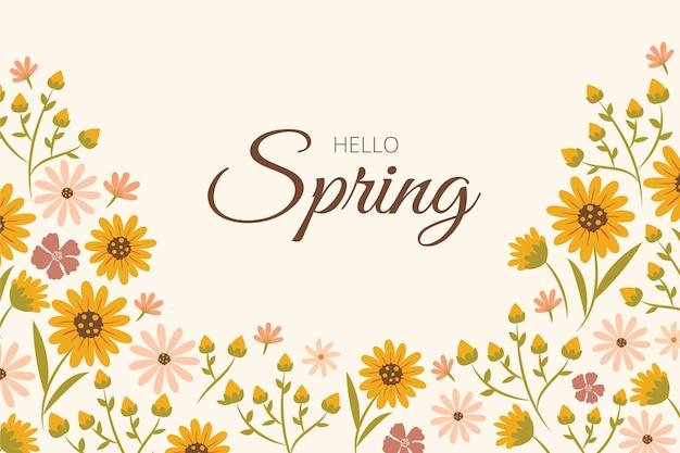 Design piatto floreale primavera sfondo con scritte Vettore gratuito