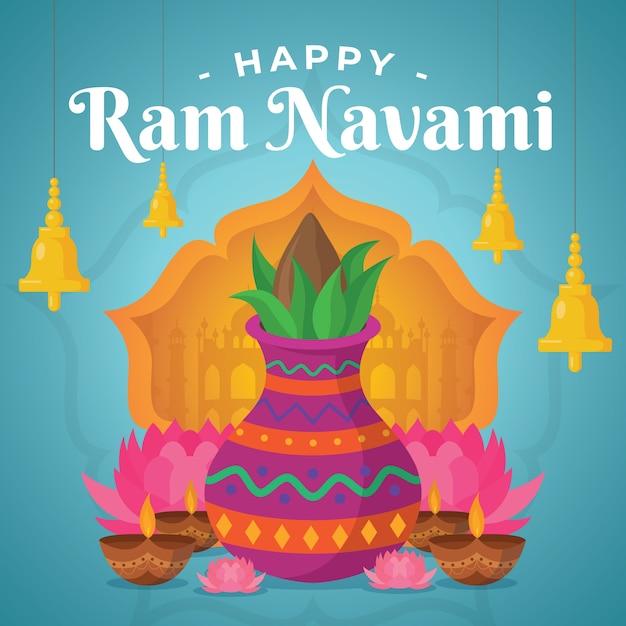 Design piatto happy ram navami day event the, e Vettore gratuito