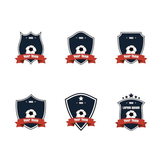 Design piatto icona calcio o calcio o logo set Vettore Premium