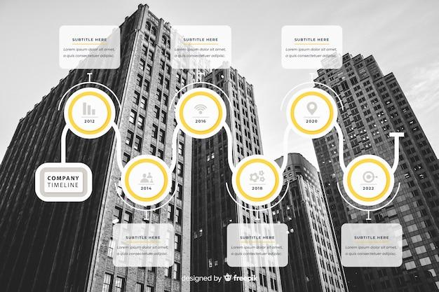 Design piatto infografica affari con foto Vettore gratuito