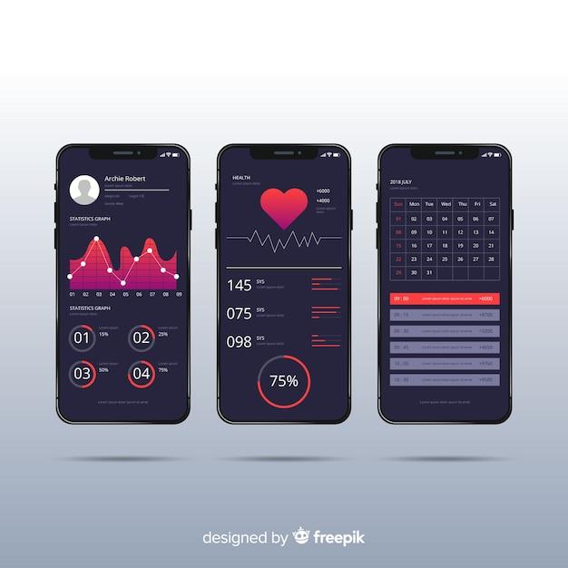 Design piatto infografica app mobile fitness Vettore gratuito