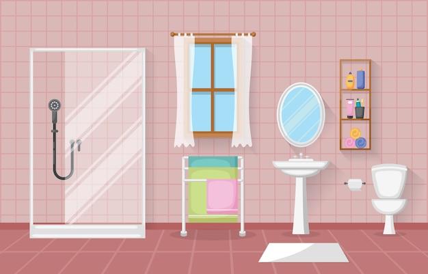 Design piatto interno bagno in camera classica con interni in legno Vettore Premium
