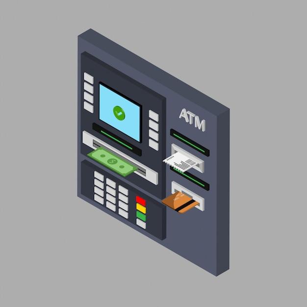 Design piatto isometrico del bancomat con contanti, carta di credito e assegno. prelevare denaro dal bancomat. usando il terminale automatico. illustrazione. isolato. Vettore Premium