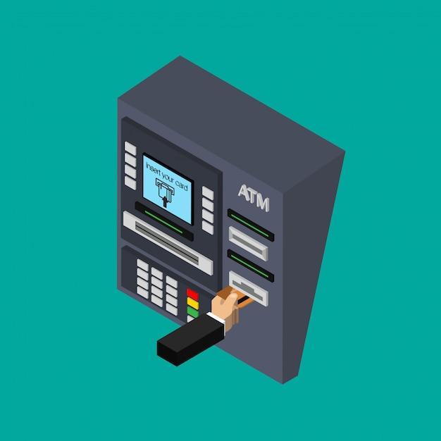 Design piatto isometrico del bancomat con la mano. inserimento di carta di credito su bancomat. usando il terminale automatico. illustrazione. Vettore Premium
