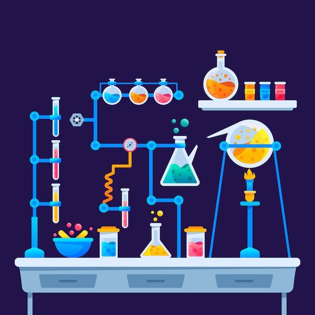 Design piatto laboratorio di scienza design Vettore gratuito