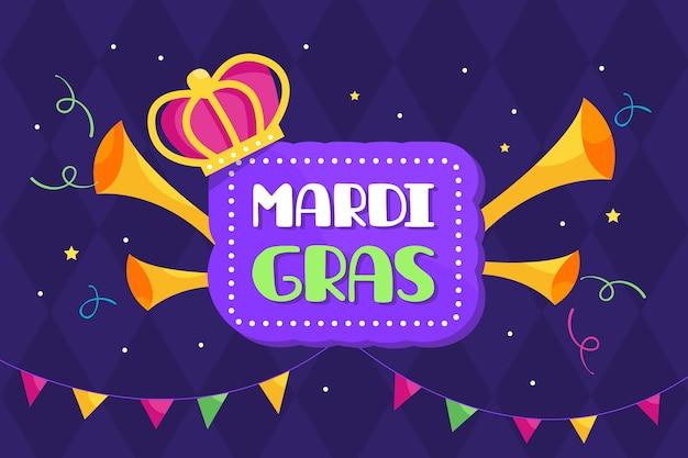 Design piatto mardi gras con corona e trombe Vettore gratuito