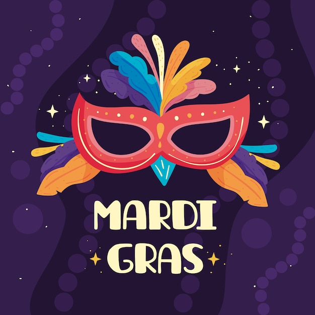 Design piatto mardi gras con maschera e piume Vettore gratuito