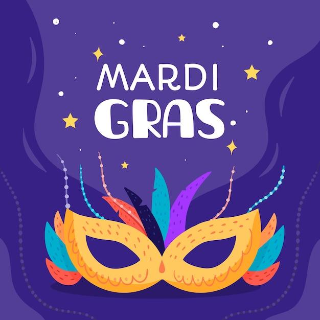 Design piatto mardi gras con maschera sotto il cielo stellato Vettore gratuito