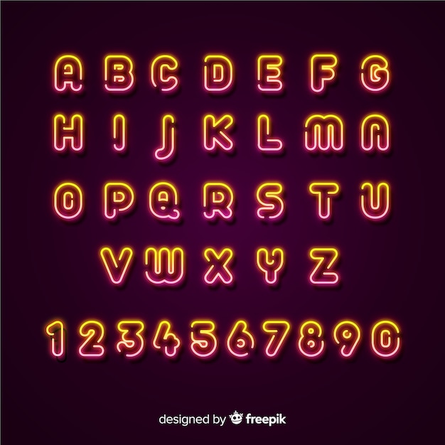 Design piatto modello alfabeto al neon Vettore gratuito