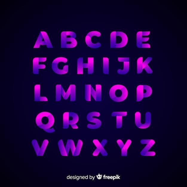 Design piatto modello alfabeto sfumato Vettore gratuito