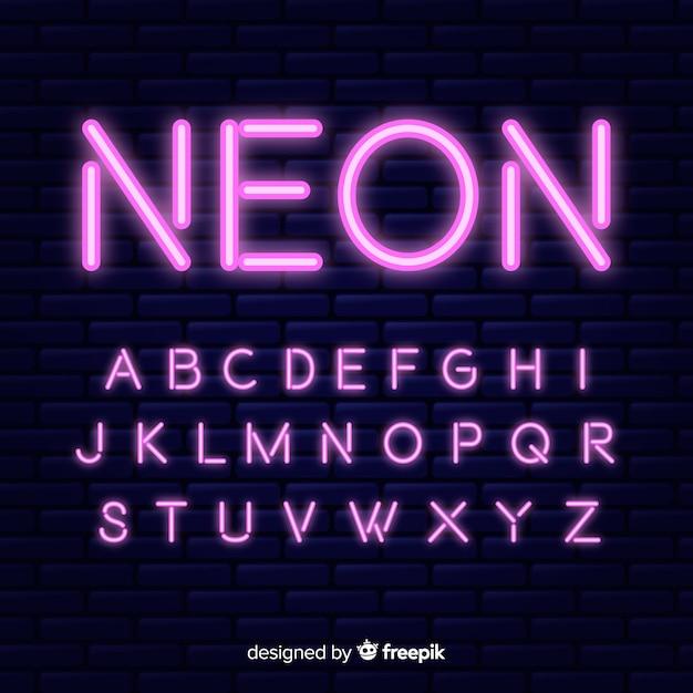 Design piatto modello di alfabeto al neon Vettore gratuito
