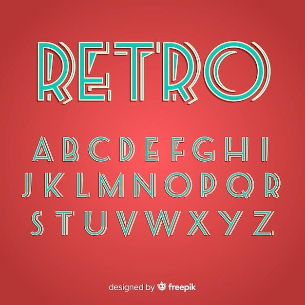 Design piatto modello di alfabeto retrò Vettore gratuito