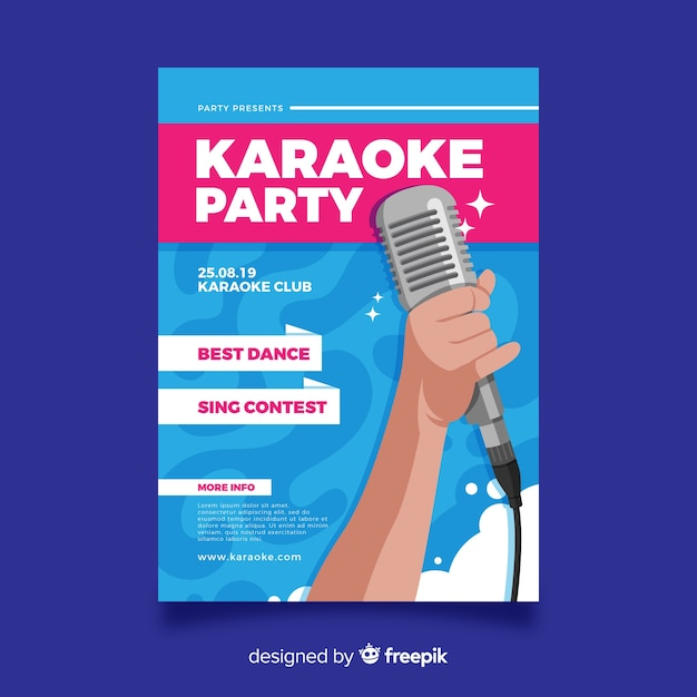 Design piatto modello di karaoke poster Vettore gratuito