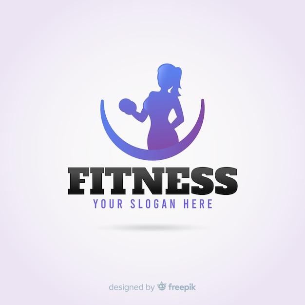Design piatto modello di logo di fitness Vettore gratuito