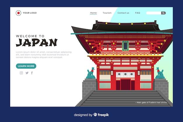 Design piatto modello di pagina di benvenuto Vettore gratuito