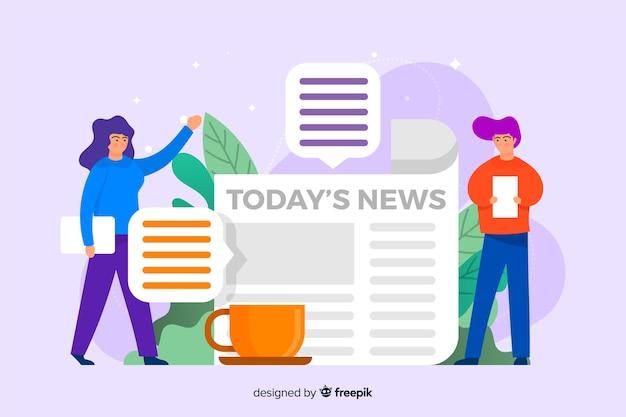 Design piatto modello di pagina di destinazione di notizie Vettore gratuito