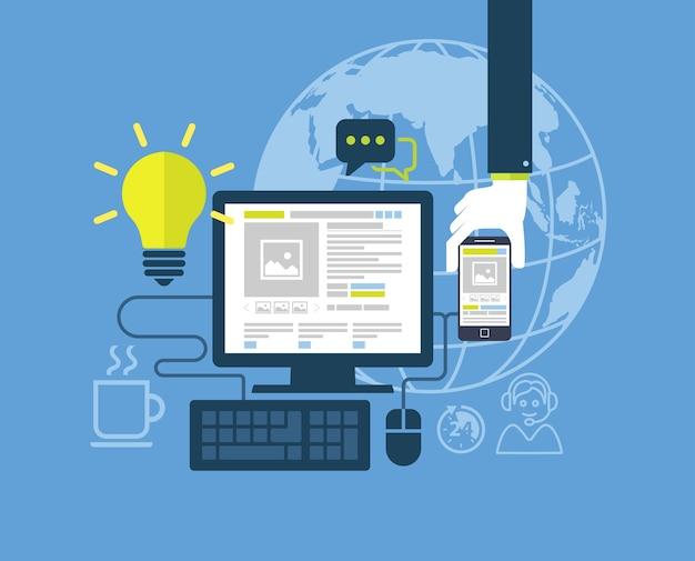 Design piatto moderno per l'illustrazione di web design Vettore Premium