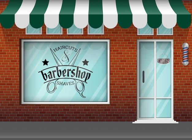 Design piatto negozio di barbiere Vettore Premium