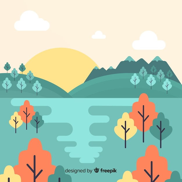 Design piatto paesaggio natura decorativa Vettore gratuito