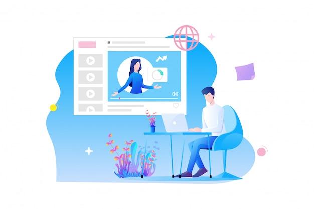 Design piatto per la formazione online. il personaggio di un uomo è seduto alla scrivania e studia online con il corso online e il concetto di esame online Vettore Premium
