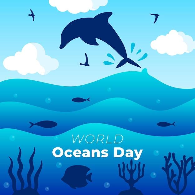 Design piatto per la giornata mondiale degli oceani Vettore gratuito