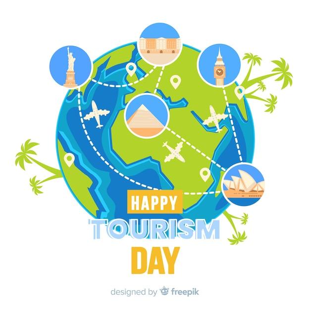 Design piatto per la giornata mondiale del turismo Vettore gratuito