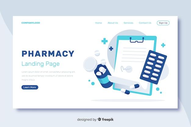 Design piatto per la landing page della farmacia Vettore gratuito