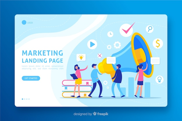 Design piatto per landing page di marketing Vettore gratuito