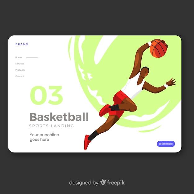 Design piatto per pagina di destinazione sportiva Vettore gratuito