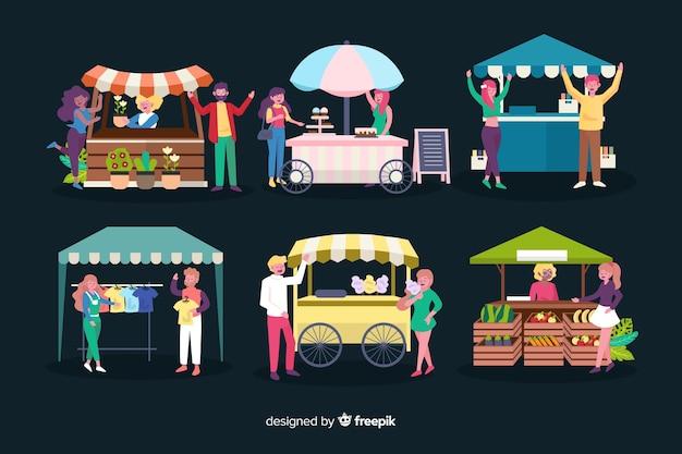 Design piatto persone di notte fiera Vettore gratuito