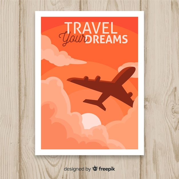 Design piatto poster da viaggio d'epoca Vettore gratuito