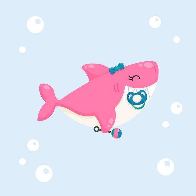 Design piatto rosa baby squalo Vettore gratuito