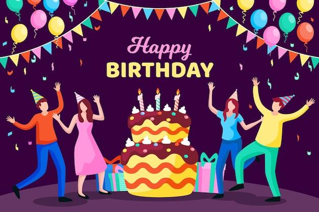 Design piatto sfondo di compleanno Vettore gratuito