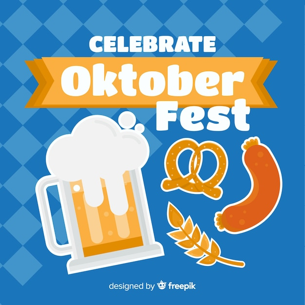 Design piatto sfondo più oktoberfest Vettore gratuito