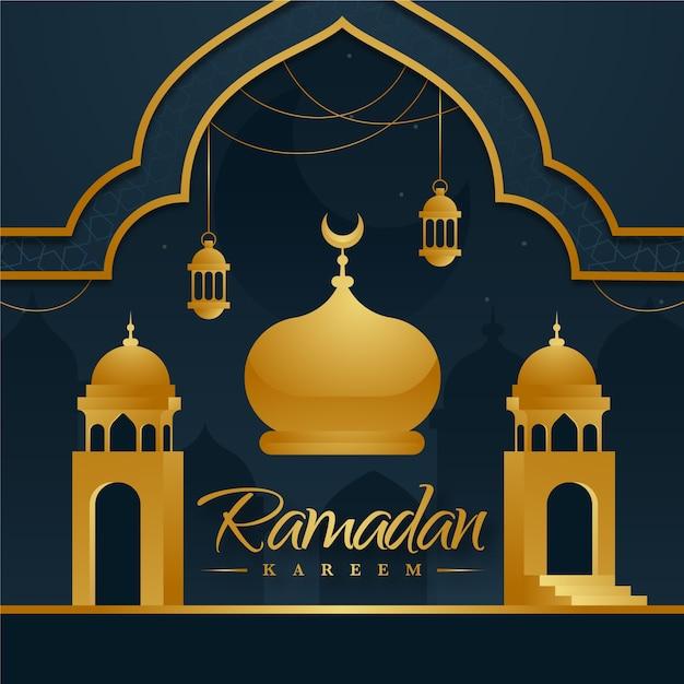 Design piatto sfondo ramadan con moschea Vettore gratuito