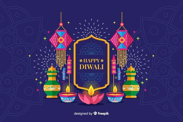 Design piatto sfondo vacanza diwali con candele Vettore gratuito