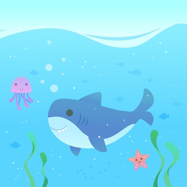 Design piatto simpatico squalo bambino nel mare Vettore gratuito
