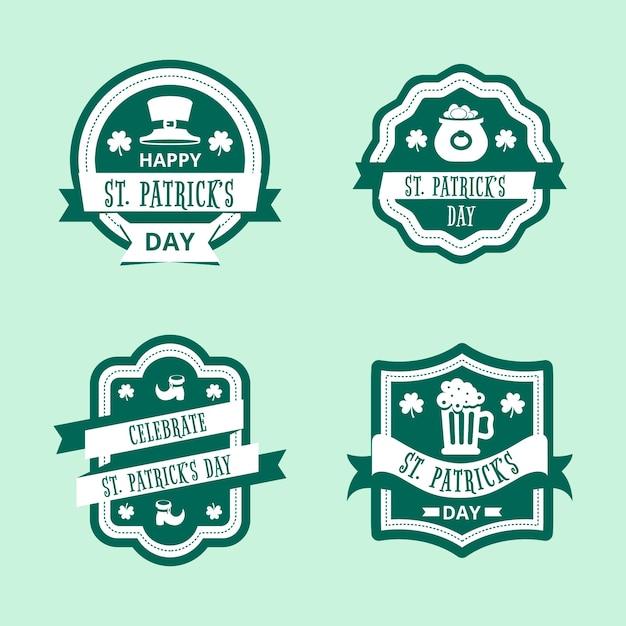 Design piatto st. concetto di raccolta di etichette giorno patricks Vettore gratuito