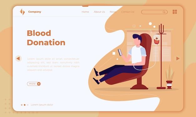 Design piatto sulla donazione di sangue sulla landing page Vettore Premium