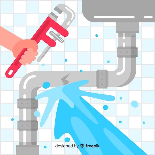 Design piatto tubo lavello rotto Vettore gratuito