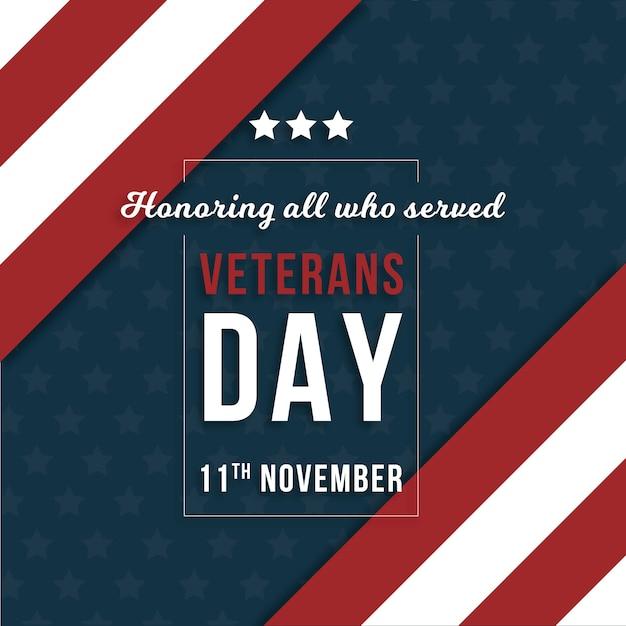 Design piatto veterani giorno di sfondo Vettore gratuito