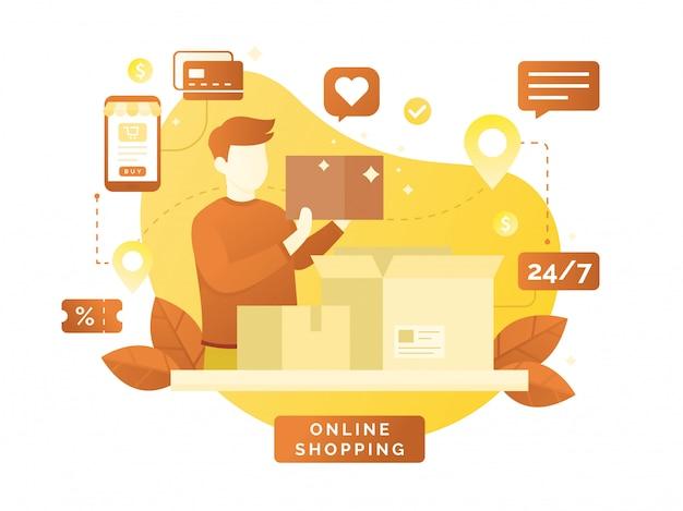 Design piatto vettoriale con l'e-commerce e lo shopping online Vettore Premium